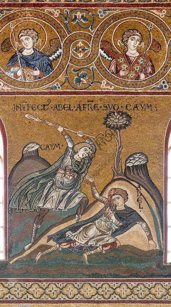 "Monreale, Duomo: ""Abel is killed by Cain"", Byzantine mosaic, Old Testament Cycle - Earthly Paradise, XII - XIII century.Latin inscription: ""INTERFECTUS ABEL A FRATRE SUO CAYM""."