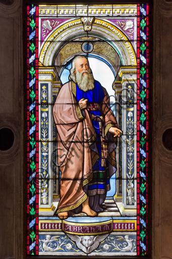Genova, Duomo (Cattedrale di S. Lorenzo), Cappella di San Giovanni Battista: vetrate di Pompeo Bertini, 1870.Particolare con Abramo.
