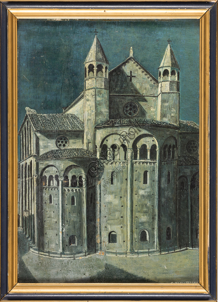 "Assicoop - Unipol Collection:Girolamo De Buoi: ""Apse of the Modena Cathedral (Duomo). Oil on pasteboard, cm 34 x 24."
