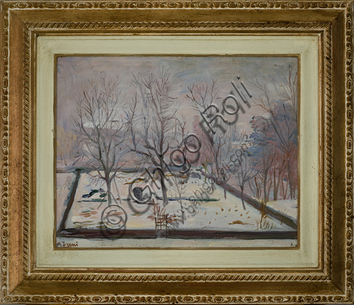 "Achille Funi (1890 - 1972); ""Snowfall"" (Oil painting on canvas, cm. 32 x 40)."