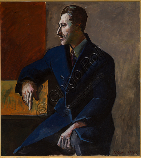 "Achille Funi (1890 - 1972); ""Portrait of  Mario Tozzi""; Oil painting on board; cm  64 X 58."