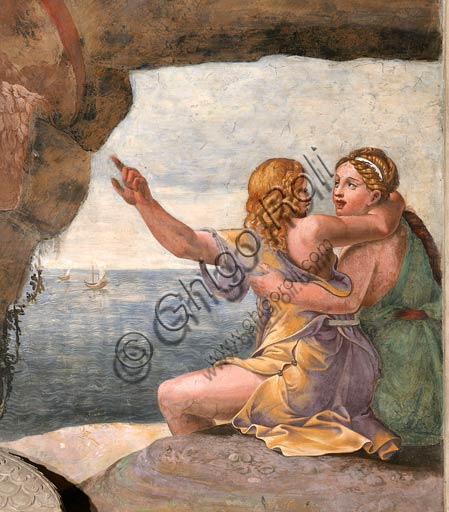 Mantua, Palazzo Te (Gonzaga's summer residence), Sala di Amore e Psiche (Chamber of Cupid and Psyche): East wall, detail with Aci and the nymph Galatea. Frescoes by Giulio Romano (1526 - 1528) who got his inspiration from Apuleius' Metamorphoses.