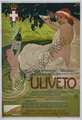 """""""Mineral Water Uliveto"""", poster by Marcello Dudovich, 1906, lithograph on paper."""
