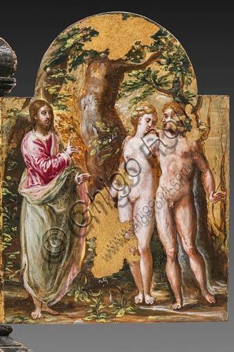 """Modena, Galleria Estense: altarolo portatile di Domenico Theotokòpoulòs detto El Greco (1541-1614). Tempera grassa su tavola, cm 37 x 23,8. Anta destra del retro con """"Adamo ed Eva al cospetto del Padre Eterno""""."""
