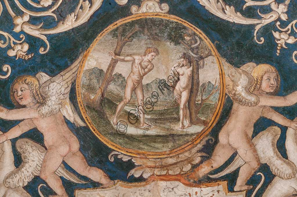 Parma, Former Monastery of St. Paul: the Chamber with frescoes by Alessandro Araldi (1514). On the vault there are frescoes representing scenes of the Old and New Testament, decorations with grotesques and puttos playing musical instruments. Detail with Adam and Eve.