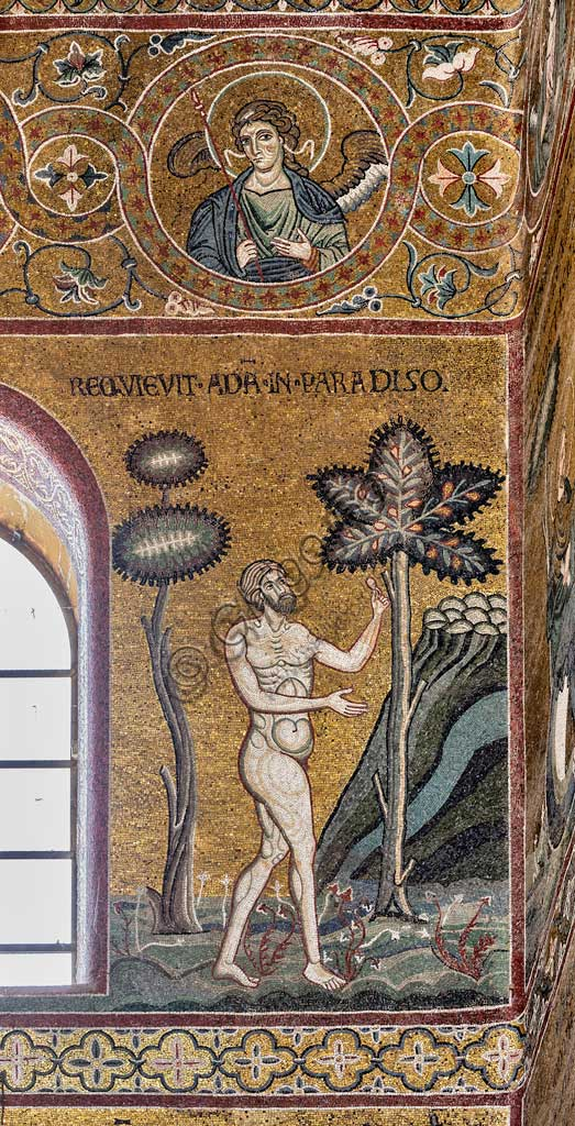 "Monreale, Duomo: ""Adam rests in the Earthly Paradise"", Old Testament Cycle - The Earthly Paradise, Byzantine mosaic, XII - XIII century.Latin inscription: ""REQUIEVIT ADAM IN PARADISO""."