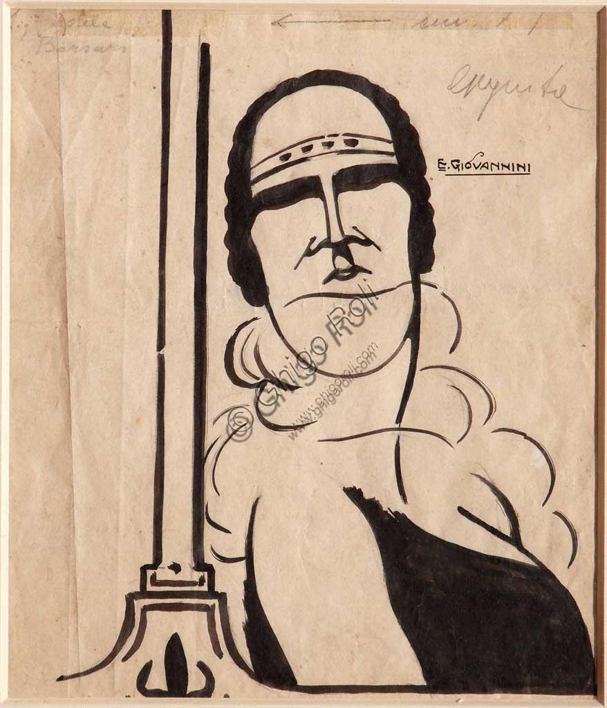 """Collezione Assicoop - Unipol: Ettore Giovannini (1894 - ?), """"Adele Borsari"""", matita e inchiostro nero su carta."""