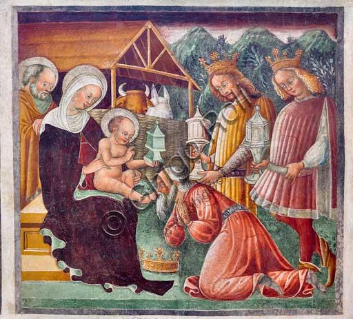 """Clusone, Oratorio dei Disciplini o di San Bernardino, interno: """"Adorazione dei Magi"""", affresco del 1471 del ciclo """"Vita di Gesù"""", dell'artista clusonese Giacomo Borlone de Buschis."""