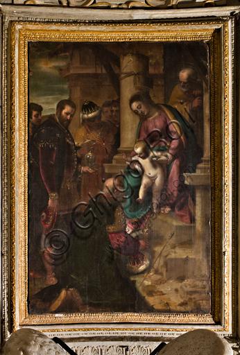"""Genova, Duomo (Cattedrale di S. Lorenzo), interno, Cappella Lercari o del Santissimo Sacramento (abside settentrionale): """"Adorazione dei Magi"""", di Luca Cambiaso, 1575."""