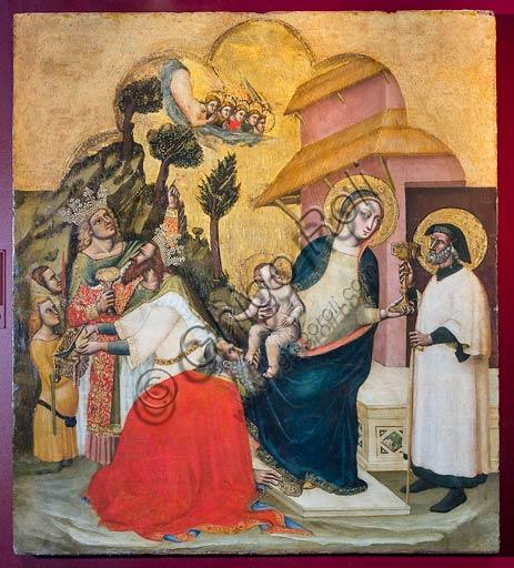 """Piacenza, Palazzo Farnese:  tempera su tavola """"Adorazione dei Magi"""", di Simone De' Crocifissi (seconda metà 1300)."""