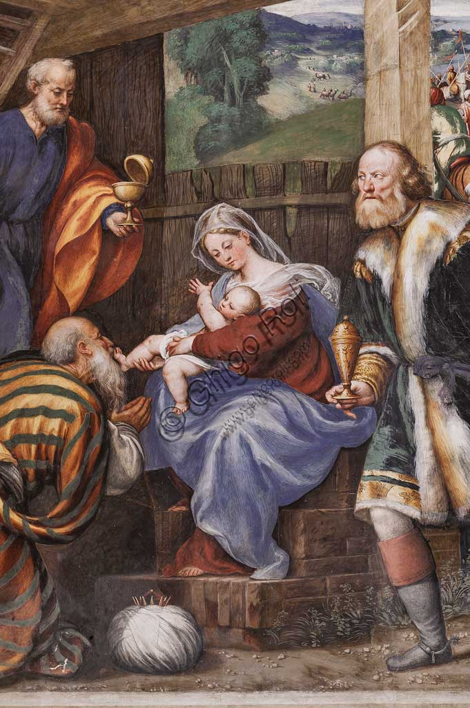 "Piacenza, Sanctuary of the Madonna della Campagna, left aisle, first chapel: ""Adoration of the Three Wise Men"". Frescoes by Giovanni Antonio de Sacchis, known as il Pordenone, 1530 - 1532. Detail."