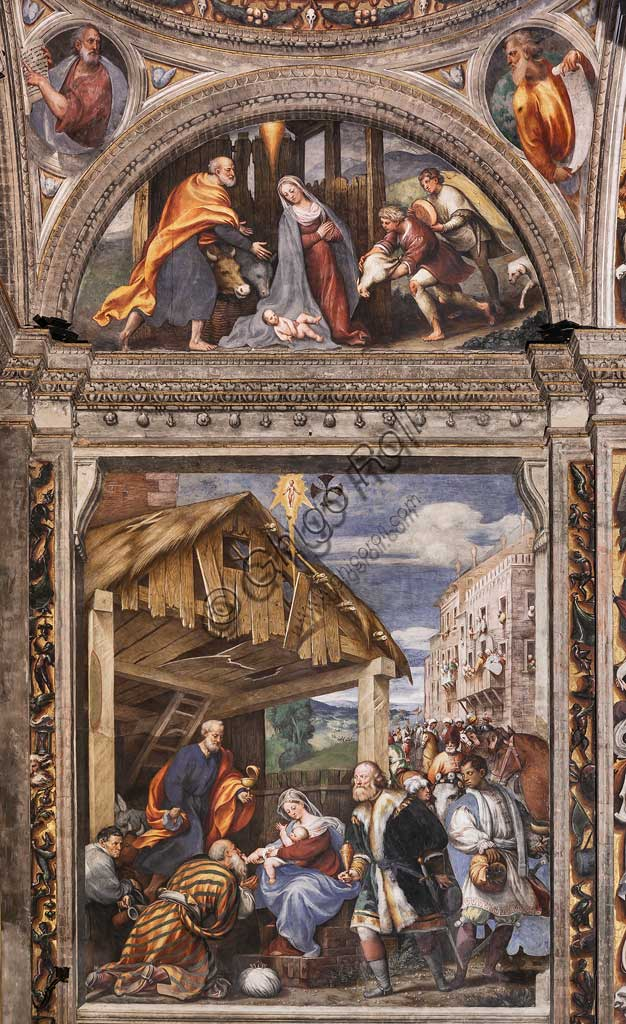 "Piacenza, Sanctuary of the Madonna della Campagna, left aisle, first chapel: ""Adoration of the Three Wise Men"". In the lunette: ""Adoration of the Shepherds"". Frescoes by Giovanni Antonio de Sacchis, known as il Pordenone, 1530 - 1532."