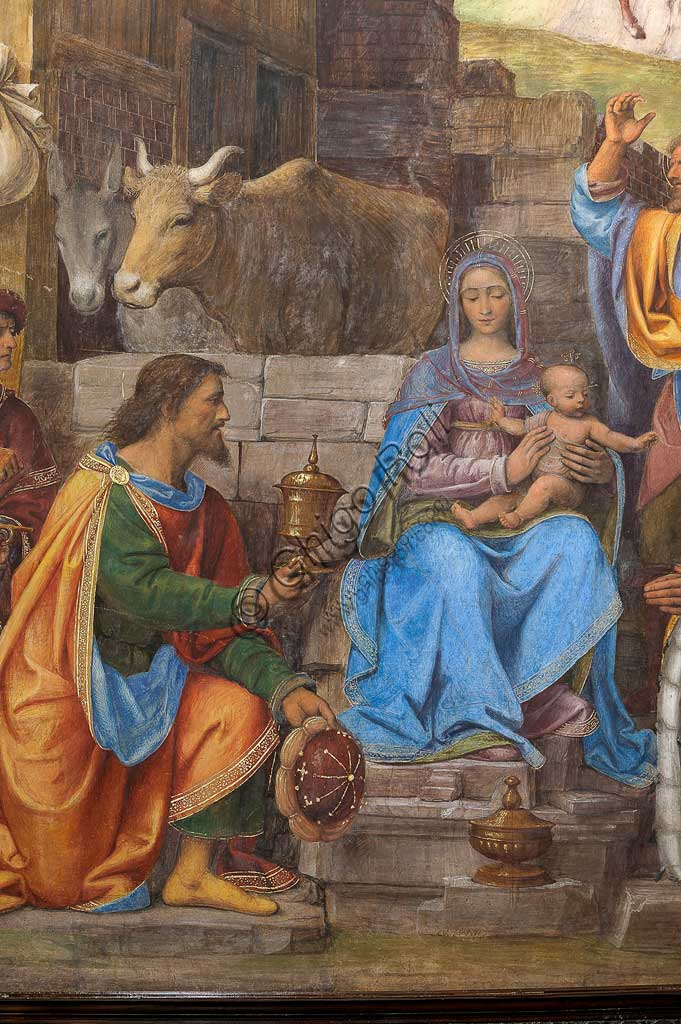 """Saronno, Shrine of Our Lady of Miracles: Presbytery (or Main Chapel): """"Adoration of the Three Wise Men"""", fresco by Bernardino Luini, 1525 - 1532. Detail."""
