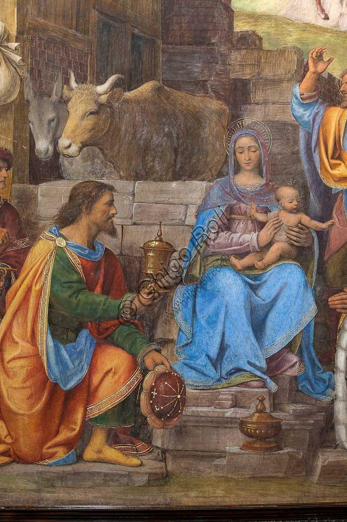 """Saronno, Santuario della Beata Vergine dei Miracoli, Presbiterio (o Cappella Maggiore): """"Adorazione dei Magi"""", affresco di Bernardino Luini, 1525 - 1532. Particolare."""