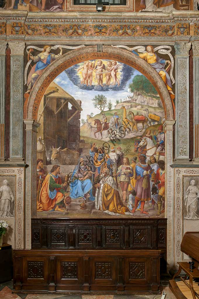 """Saronno, Shrine of Our Lady of Miracles: Presbytery (or Main Chapel): """"Adoration of the Three Wise Men"""", fresco by Bernardino Luini, 1525 - 1532."""