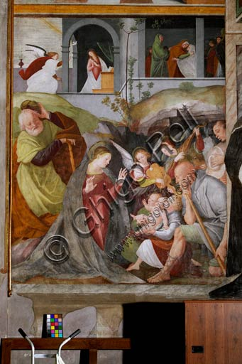 "Vercelli, Church of St. Christopher, Chapel of the blessed Virgin or of the Assunta: ""Adoration of the Shepherds with Musician Angels"". Top left: ""Annunciation"". Top right: ""Visitation"". Fresco by Gaudenzio Ferrari, 1529 - 1534."