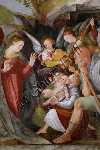 "Vercelli, Church of St. Christopher, Chapel of the blessed Virgin or of the Assunta: ""Adoration of the Shepherds with Musician Angels"".  Fresco by Gaudenzio Ferrari, 1529 - 1534."