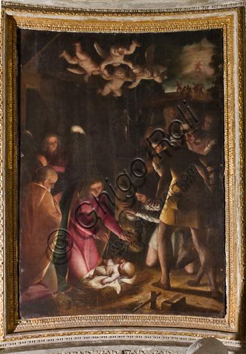 """Genova, Duomo (Cattedrale di S. Lorenzo), interno, Cappella Lercari o del Santissimo Sacramento (abside settentrionale): """"Adorazione dei pastori"""", di Luca Cambiaso, 1575."""