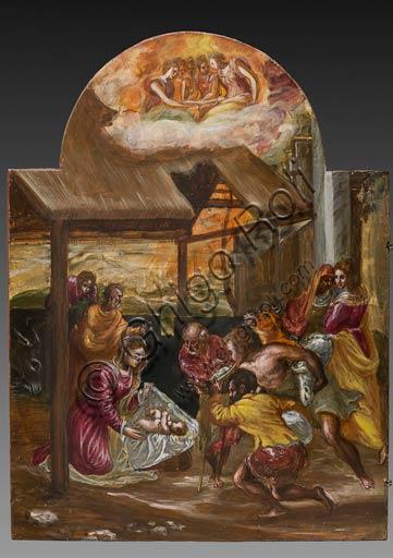 """Modena, Galleria Estense: altarolo portatile di Domenico Theotokòpoulòs detto El Greco (1541-1614). Tempera grassa su tavola, cm 37 x 23,8. Particolare dell'anta sinistra con """"Adorazione dei Pastori"""","""