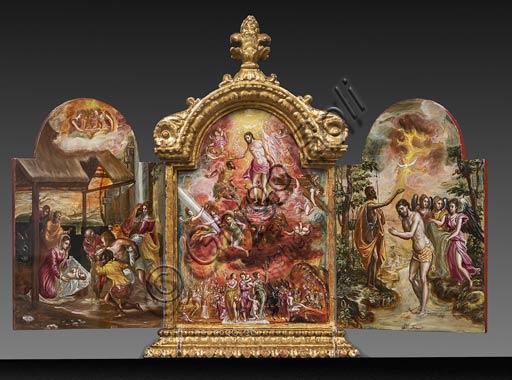 """Modena, Galleria Estense: altarolo portatile di Domenico Theotokòpoulòs detto El Greco (1541-1614). Tempera grassa su tavola, cm 37 x 23,8. Parte frontale con """"Adorazione dei Pastori"""" a sinistra, """"Allegoria del Cavaliere Cristiano"""" al centro e """"Battesimo di Cristo"""" a destra."""