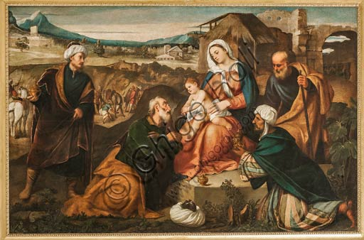 """Modena, Galleria Estense: """"Adorazione dei Re Magi"""" di Antonio Negretti detto Antonio Palma (padre di Jacopo """"Palma il Giovane"""").olio su tela, cm. 144 x 214."""