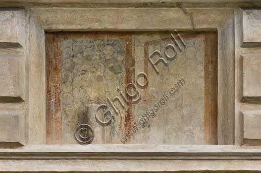 Mantua, Palazzo Te (Gonzaga's Summer residence), Cortile d'Onore (the Courtyard of Honour): detail of a tromp l'oeil fresco on the Northern side which represents a fake window.