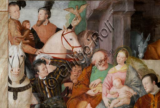 Vercelli, chiesa di San Cristoforo, cappella della Beata Vergine (o dell' Assunta):  Adorazione dei Magi, particolare.  Affresco di Gaudenzio Ferrari,  1529 - 1534.