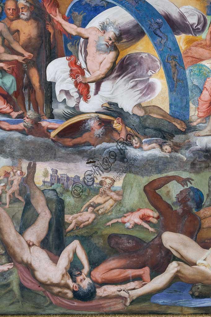 Genova, Villa del Principe (Palazzo di Andrea Doria), Salone di Giove, volta: Giove che folgora i Giganti ribelli (Caduta dei Giganti). Particolare. Affresco di Perin del Vaga (Pietro Bonaccorsi), 1530 - 1533.