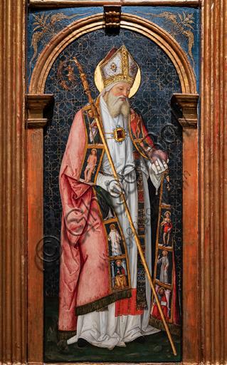 Perugia, Galleria Nazionale dell'Umbria: Pala di Santa Maria dei Fossi, di Bernardino di Betto detto il Pinturicchio, 1495 - 6, tempera su tavola.  Particolare di S. Agostino.