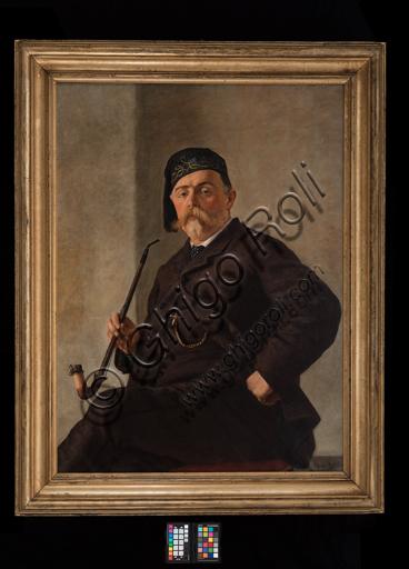 """Albano Lugli: """"Uomo con pipa""""; olio su tela (cm. 116 × 86)."""