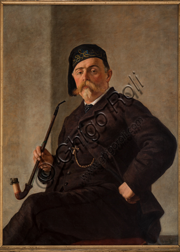 "Albano Lugli: ""Man with Pipe""; oil painting on canvas (cm. 116 × 86)."