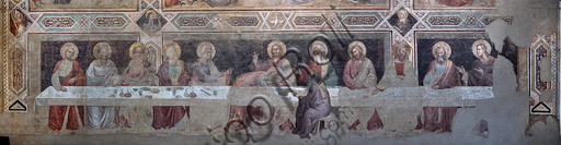 "Basilica of the Holy Cross: ""Tree of Life and Last Supper"", about 1350, by Taddeo Gaddi, detached fresco. Detail of the Last Supper with Apostles."