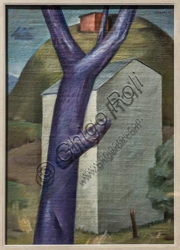 """Museo Novecento: """"Albero viola e casa bianca"""", di Sepo (Severo Pozzati), 1915. Olio su tela su compensato."""