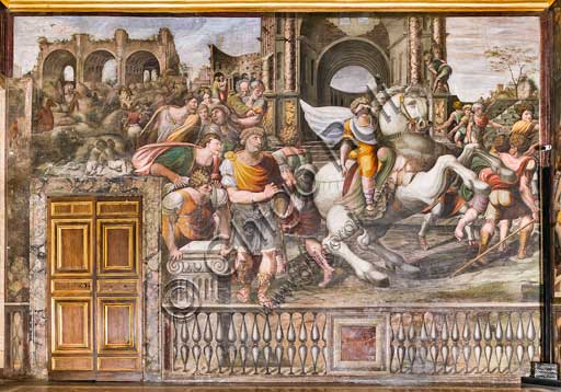 "Rome, Villa Farnesina, Alexander's Room (or The Chigi Wedding Room): ""Alexander the Great taming Bucephalus"", fresco by Sodoma (Giovanni Antonio de' Bazzi), 1519."