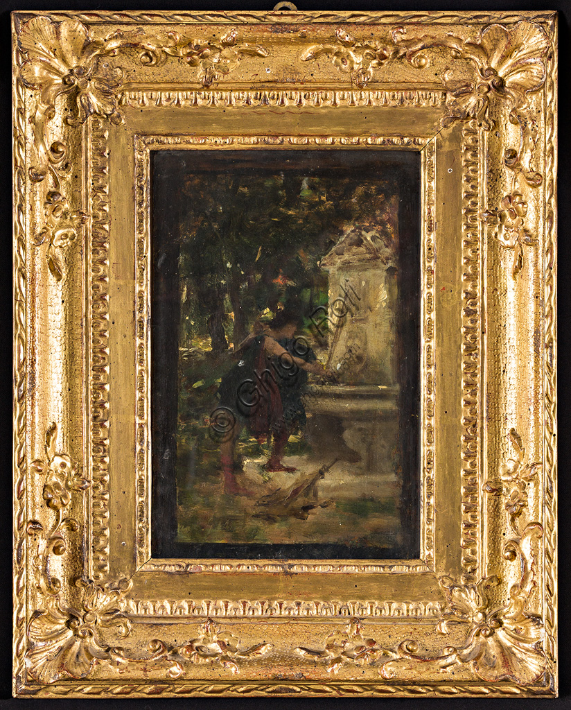 "Assicoop - Unipol Collection:Giovanni Muzzioli (1854 - 1894): ""To the Fountain"".  Oil painting,  cm 26 x 17,50."