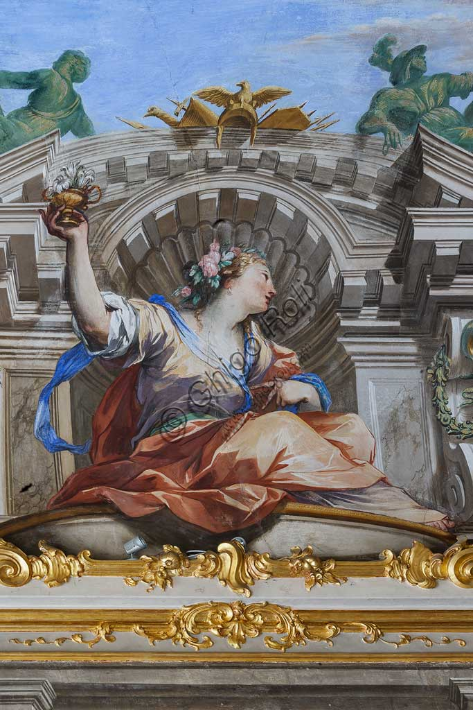 "Genoa, Palazzo Reale (former Palazzo Balbi Durazzo):  Hall of the Fame of the Balbi Family: the vault with ""Allegory of the Fame and Allegorical Figures"", fresco by Valerio Castello and Giovanni Maria Mariani, 1755.Detail.World Heritage UNESCO."
