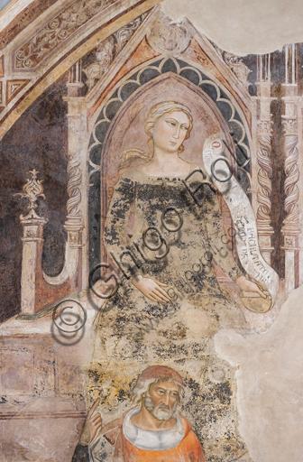 """""""Allegoria della Retorica""""; in basso il suo rappresentante ideale, probabilmente Isocrate o Demostene. Affreschi di Jacopo di Cione (fratello dell'Orcagna,1366-1406)  su programma iconografico di Coluccio Salutati (1375-1406), conservati nel Palazzo dell'Arte dei Giudici e Notai, o del Proconsolo a Firenze."""