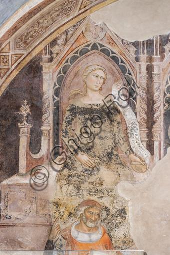"""""""Allegoria della Retorica""""; in basso il suo rappresentante ideale, probabilmente Isocrate o Demostene. Affreschi di Jacopo di Cione (fratello dell'Orcagna,1366-1406)  su programma iconografico di Coluccio Salutati (1375-1406), conservati nel Palazzo dell'Arte dei Giudici e Notai, o del Proconsolo a Firenze., conservati nel Palazzo dell'Arte dei Giudici e Notai, o del Proconsolo a Firenze."""