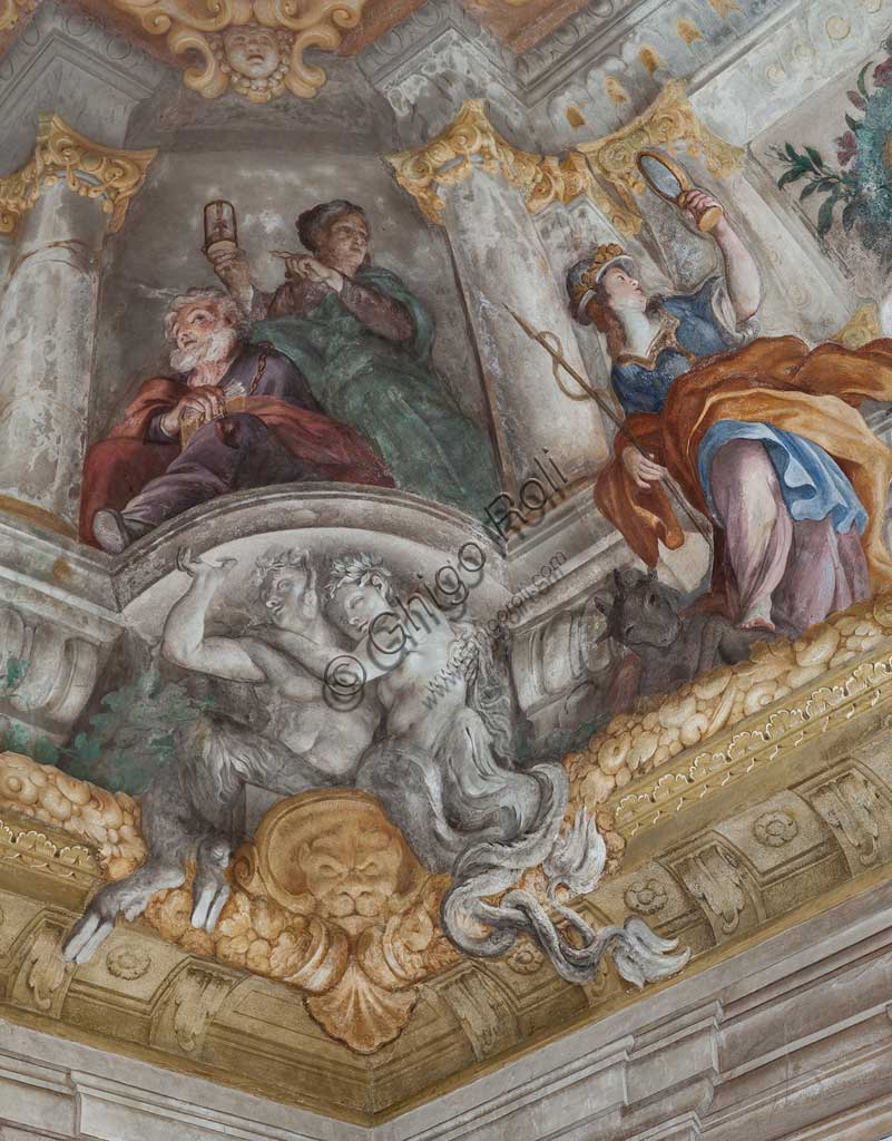 "Genoa, Palazzo Rosso (former Palazzo Rodolfo e Francesco Maria Brignole Sale), the Hall of the Human Life: the vault with ""The Allegory of Human Life"". Frescoes by Giovanni Andrea Carlone (1691 - 92). Detail of the vault with the Old Age.World Heritage UNESCO."