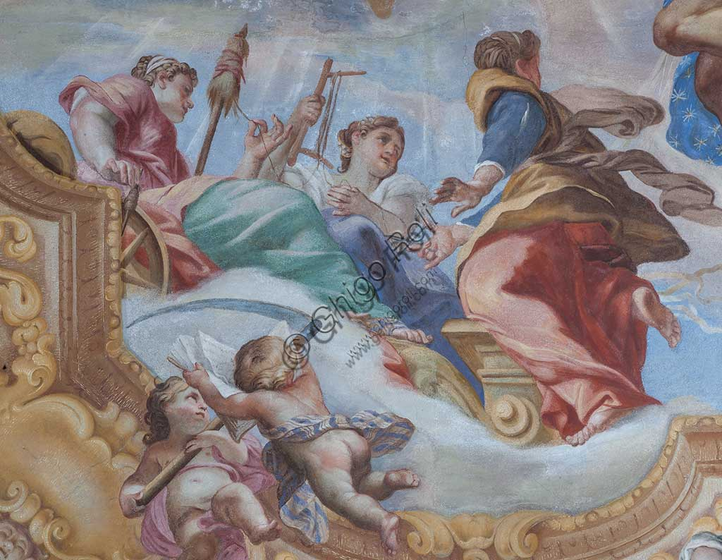 "Genoa, Palazzo Rosso (former Palazzo Rodolfo e Francesco Maria Brignole Sale), the Hall of the Human Life: the vault with ""The Allegory of Human Life"". Frescoes by Giovanni Andrea Carlone (1691 - 92).Detail with the Fates.World Heritage UNESCO."