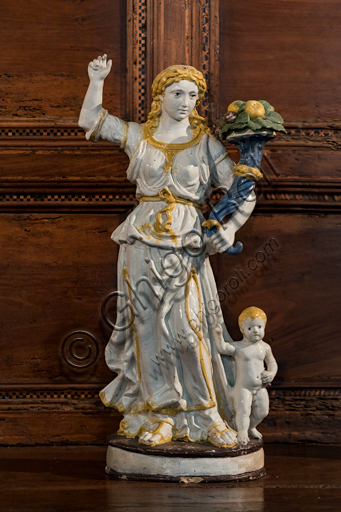 """""""Allegory of Abundance"""", by Giovanni Della Robbia's workshop, glazed terracotta, second half of the 15th century - early 16th century."""