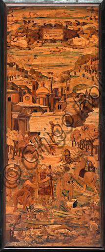 """Genova, Duomo (Cattedrale di S. Lorenzo), interno, abside, coro, lato sud: """"Allegoria"""", tarsia lignea di Giovanni Francesco Zambelli (secolo XVI)."""