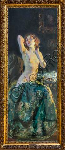 """Piacenza, Galleria Ricci Oddi:  """"Allo specchio"""",   di Giacomo Grosso (1851 - 1920)."""