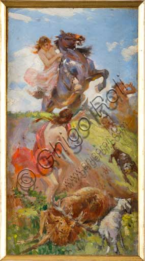 "Assicoop - Unipol Collection: Achille Boschi (1852 - 1930), ""Amazons hunting a Deer"". (1) Oil painting on canvas glued on cardboard."
