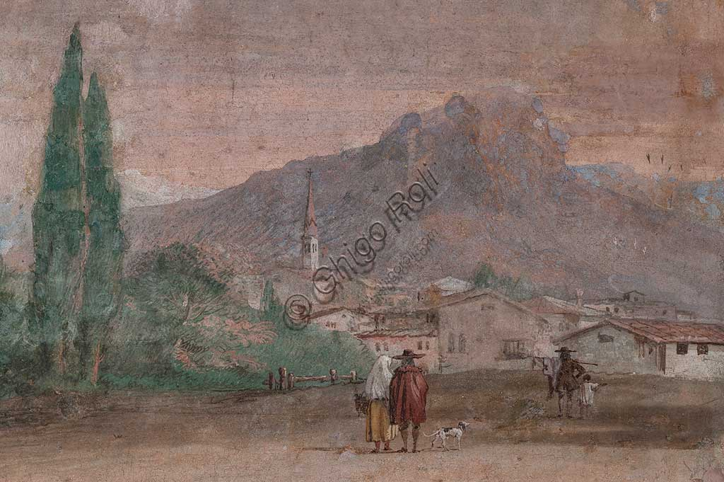 "Vicenza, Villa Valmarana ai Nani, Palazzina (Small Building): view of the first room and its frescoes representing episodes from  the Iliad: ""Cupid with arrows flying over a Venetian landscape"".  Frescoes by Giandomenico  Tiepolo, 1756 - 1757. Detail regarding the landscape."