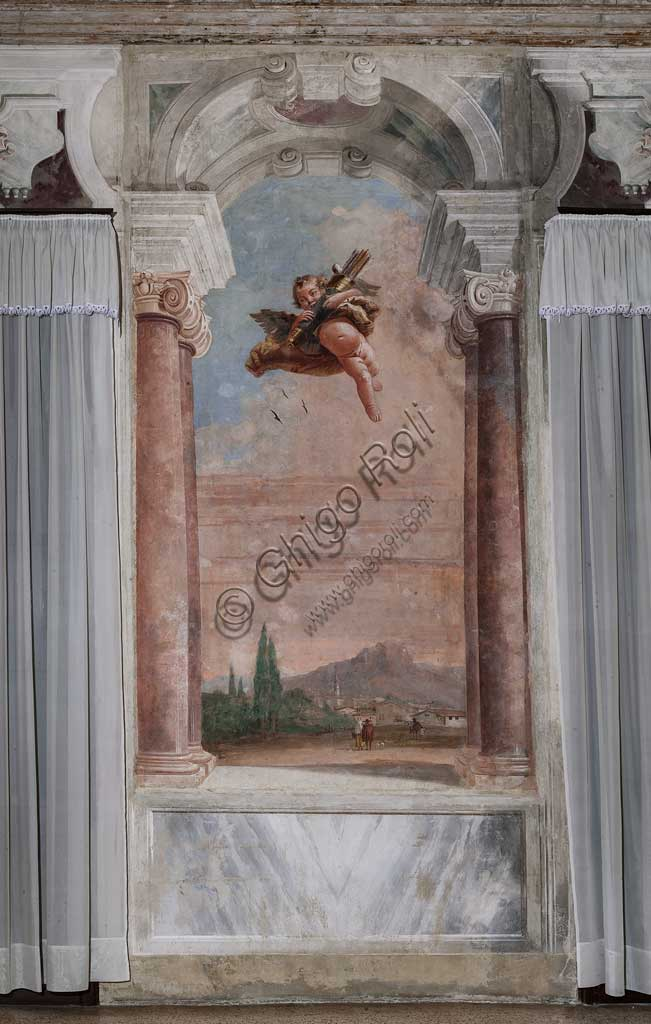 "Vicenza, Villa Valmarana ai Nani, Palazzina (Small Building): view of the first room and its frescoes representing episodes from  the Iliad: ""Cupid with arrows flying over a Venetian landscape"".  Frescoes by Giandomenico  Tiepolo, 1756 - 1757."