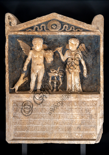 """Foligno, Trinci Palace, Archaelogical Collection: marble stele """"Cupid and Psyche"""", II century a.C."""