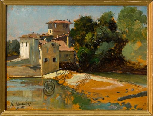 """Giovanni Muzzioli (1854 - 1894):  """"S. Andrea a Rovezzano (Florence)""""; Oil painting on board; cm. 14,5 X 19,5."""
