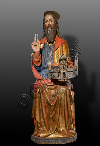 """Spoleto, Museo Diocesano: """"St. Andrew"""", wooden statue, by Umbria artist, XV century."""