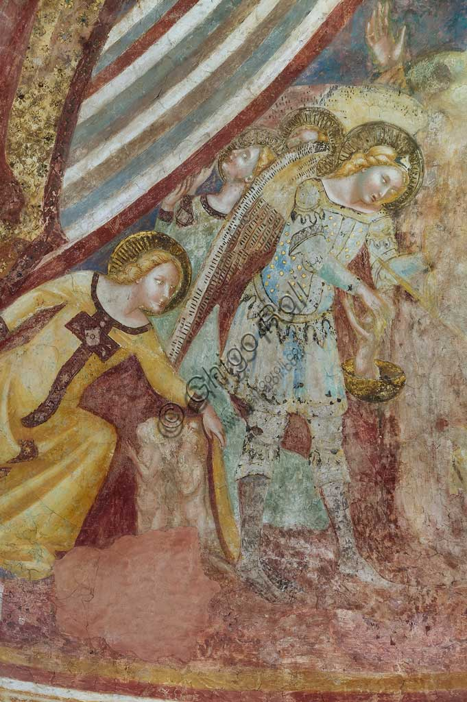 Codigoro, Pomposa Abbey, interior of the Basilica of Santa Maria, the apse basin: frescoes by Vitale da Bologna. Detail with angels and saints.